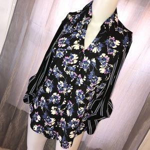 Express Japanese Floral Button Down Shirt
